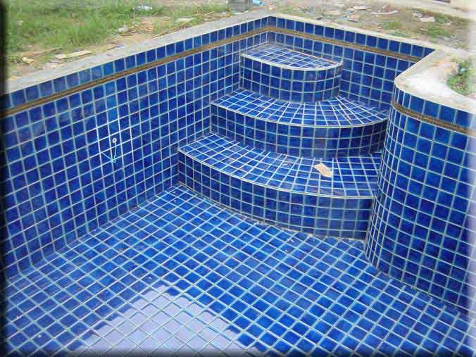 natural blue tiles on curved steps